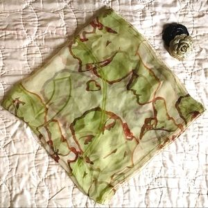 🆕 CHANEL | green silk chiffon CC square scarf 33""